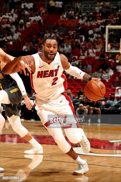 Wayne Ellington of the Miami Heat handles the ball during the preseason game against the Atlanta Hawks on October 1 2017 at American Airlines Arena...