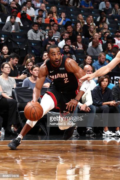 Wayne Ellington of the Miami Heat handles the ball during the game against the Brooklyn Nets during a preseason game on October 5 2017 at Barclays...