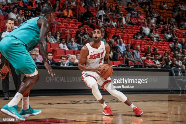 Wayne Ellington of the Miami Heat handles the ball during the preseason game against the Charlotte Hornets on October 9 2017 at AmericanAirlines...