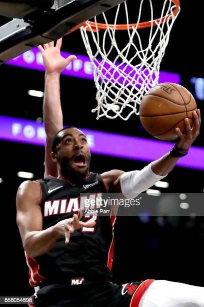 Wayne Ellington of the Miami Heat reaches for the basket against the Brooklyn Nets during their Pre Season game at Barclays Center on October 5 2017...