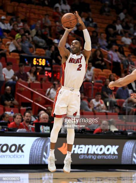 Wayne Ellington of the Miami Heat shoots during a preseason game against the Washington Wizards at American Airlines Arena on October 11 2017 in...
