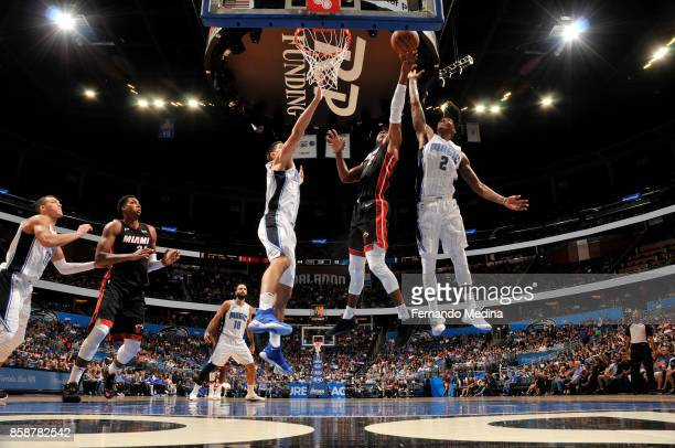 Wayne Ellington of the Miami Heat shoots the ball against the Orlando Magic during a preseason game on October 8 2017 at Amway Center in Orlando...