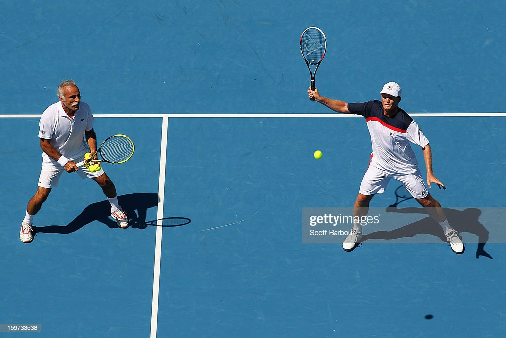 Wayne Ferreira of South Africa plays a shot in his third round legends match with Mansour Bahrami of Iran against Jacco Eltingh and Paul Haarhuis of the Netherlands during day seven of the 2013 Australian Open at Melbourne Park on January 20, 2013 in Melbourne, Australia.