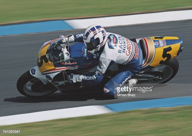 Wayne Gardner of Australia riding the Rothmans HondaHRC NSR500 during the British motorcycle Grand Prix on 4 August 1991 at the Donington Park...