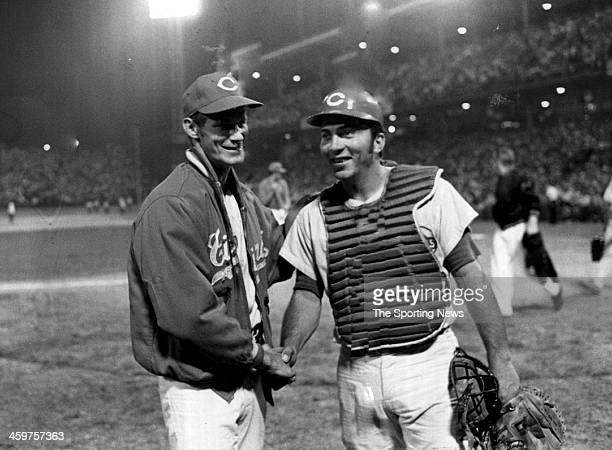 Wayne Granger and catcher Johnny Bench of the Cincinnati Reds celebrate after they won the last game played at Crosley Field on June 24 1970 in...
