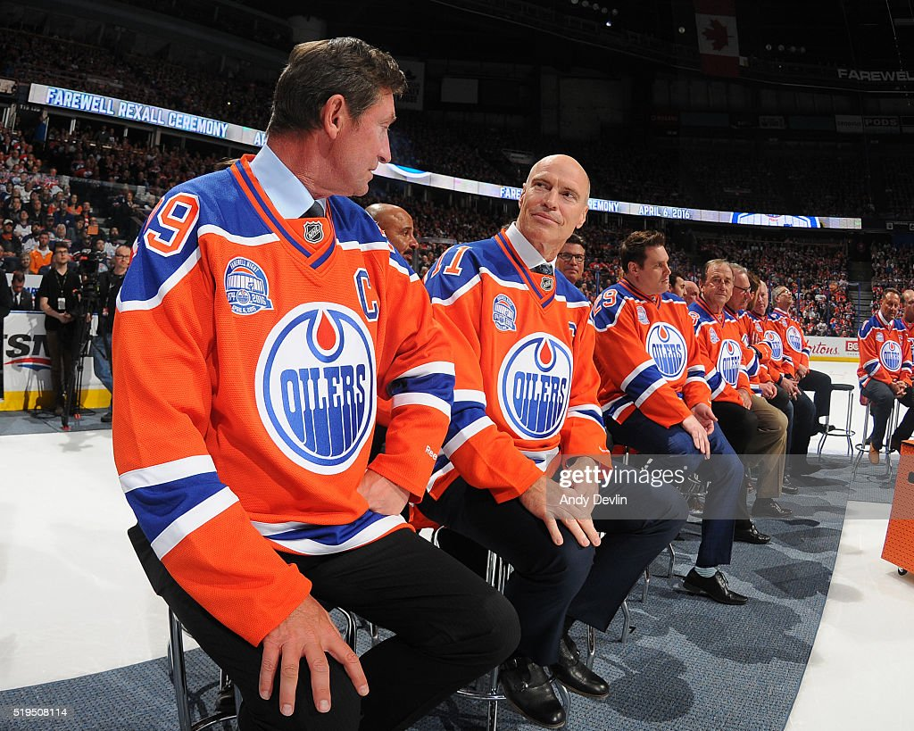Wayne Gretzky and Mark Messier of the Edmonton Oilers Alumni exchange words during the Farewell Rexall Place ceremony following the game against the Vancouver Canucks on April 6, 2016 at Rexall Place in Edmonton, Alberta, Canada.