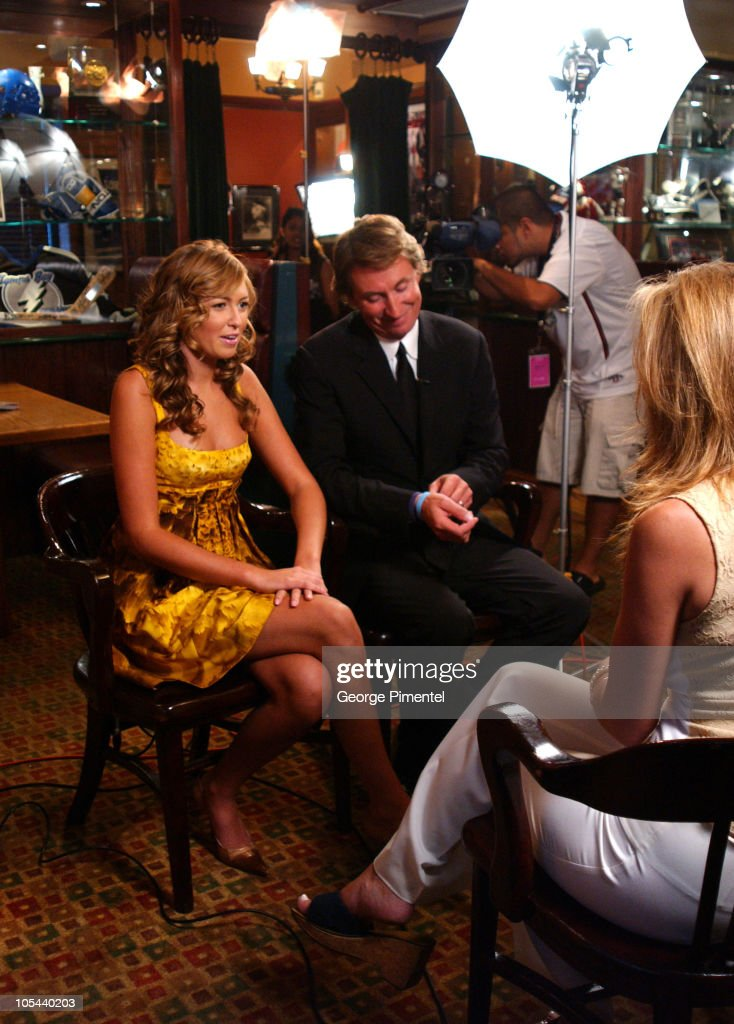 Wayne Gretzky and Paulina Gretzky during Paulina and Wayne Gretzky at Flare Magazine Release Party at Wayne Gretzky's in Toronto, Ontario, Canada.