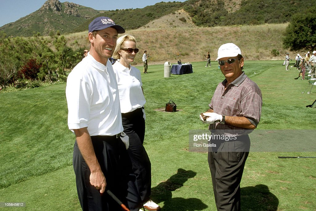 Wayne Gretzky and Wife Janet Jones, and Joe Pesci during Casey Lee Ball Classic Charity Golf Tournament at Lake Sherwood Country Club in Westwood, California, United States.