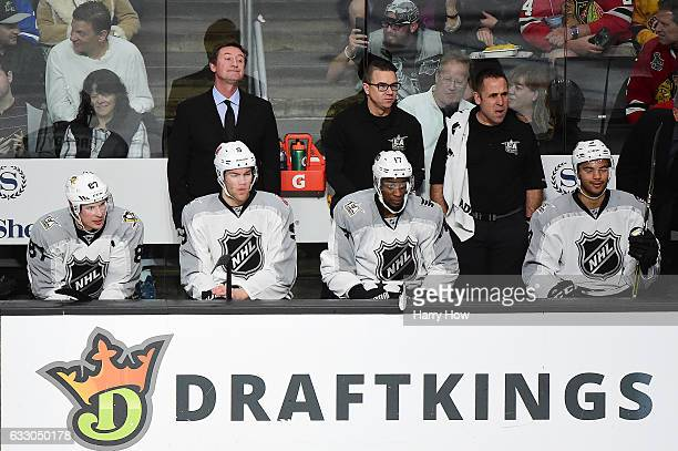 Wayne Gretzky coaches during the 2017 Honda NHL AllStar Game Semifinal at Staples Center on January 29 2017 in Los Angeles California