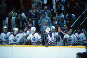 Wayne Gretzky Mark Messier and other teammates of the Edmonton Oilers start celebrating after defeating the New York Islanders in Game 5 of the 1984...