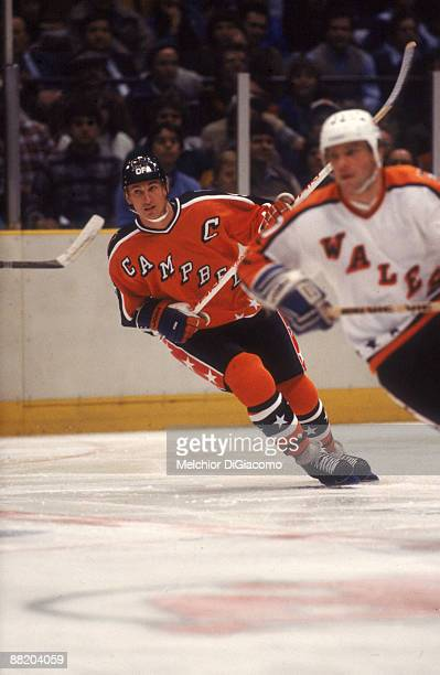 Wayne Gretzky of the Campbell Conference and the Edmonton Oilers skates on the ice during the 1984 36th NHL All Star Game against the Wales...