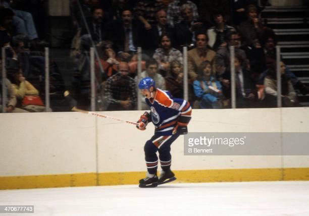 Wayne Gretzky of the Edmonton Oilers celebrates a goal during an NHL game against the New York Rangers on November 15 1981 at the Madison Square...