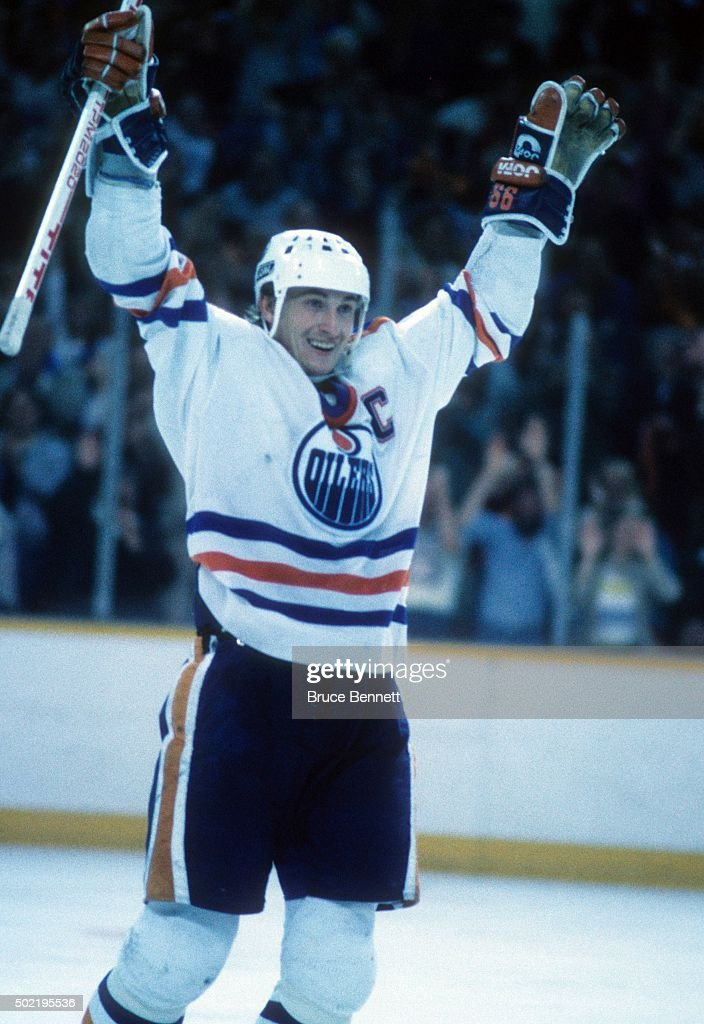 Wayne Gretzky of the Edmonton Oilers celebrates a goal during the 1987 Stanley Cup Finals against the Philadelphia Flyers in May 1987 at the...