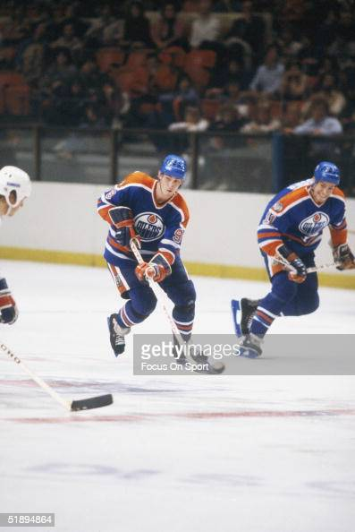 Wayne Gretzky of the Edmonton Oilers looks to make a shot during agame in Quebec Canada