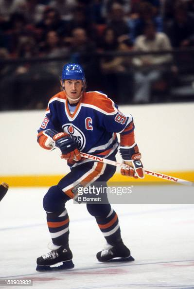 Wayne Gretzky of the Edmonton Oilers skates on the ice during an NHL game against the New York Rangers on October 30 1983 at the Madison Square...
