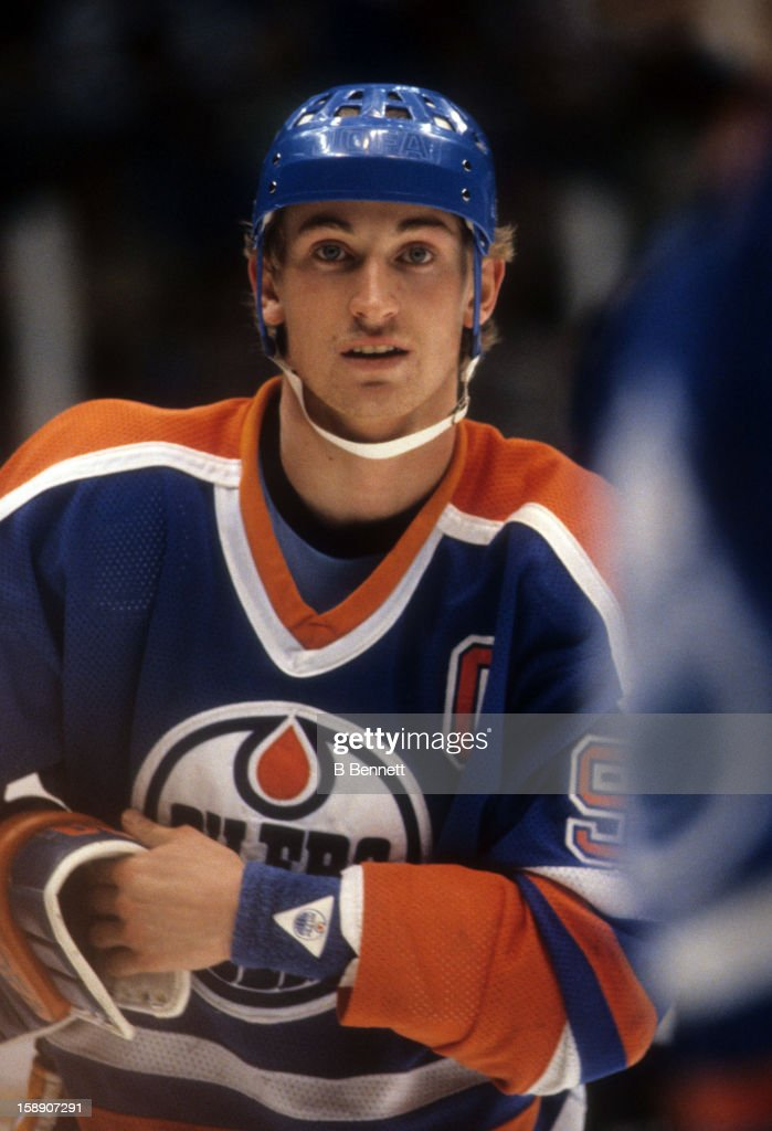 Wayne Gretzky of the Edmonton Oilers skates on the ice during an NHL game against the New Jersey Devils on January 15 1984 at the Brendan Byrne Arena...