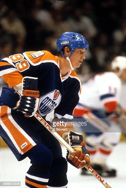 Wayne Gretzky of the Edmonton Oilers skates on the ice during an NHL game against the New York Islanders on October 23 1979 at the Nassau Coliseum in...