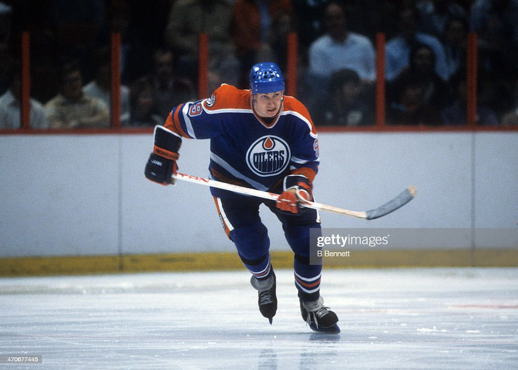 <a gi-track='captionPersonalityLinkClicked' href=/galleries/search?phrase=Wayne+Gretzky+-+Ice+Hockey+Player&family=editorial&specificpeople=157520 ng-click='$event.stopPropagation()'>Wayne Gretzky</a> #99 of the Edmonton Oilers skates on the ice during an NHL game against the Philadelphia Flyers on January 14, 1982 at the Spectrum in Philadelphia, Pennsylvania.