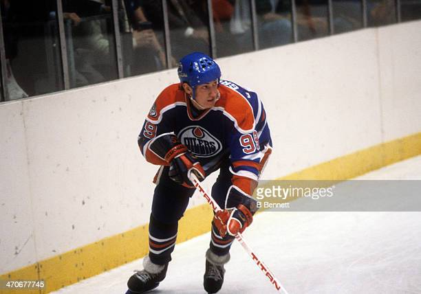 Wayne Gretzky of the Edmonton Oilers skates on the ice during an NHL game against the New York Rangers on November 15 1981 at the Madison Square...