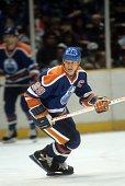 Wayne Gretzky of the Edmonton Oilers skates on the ice during an NHL game circa 1987