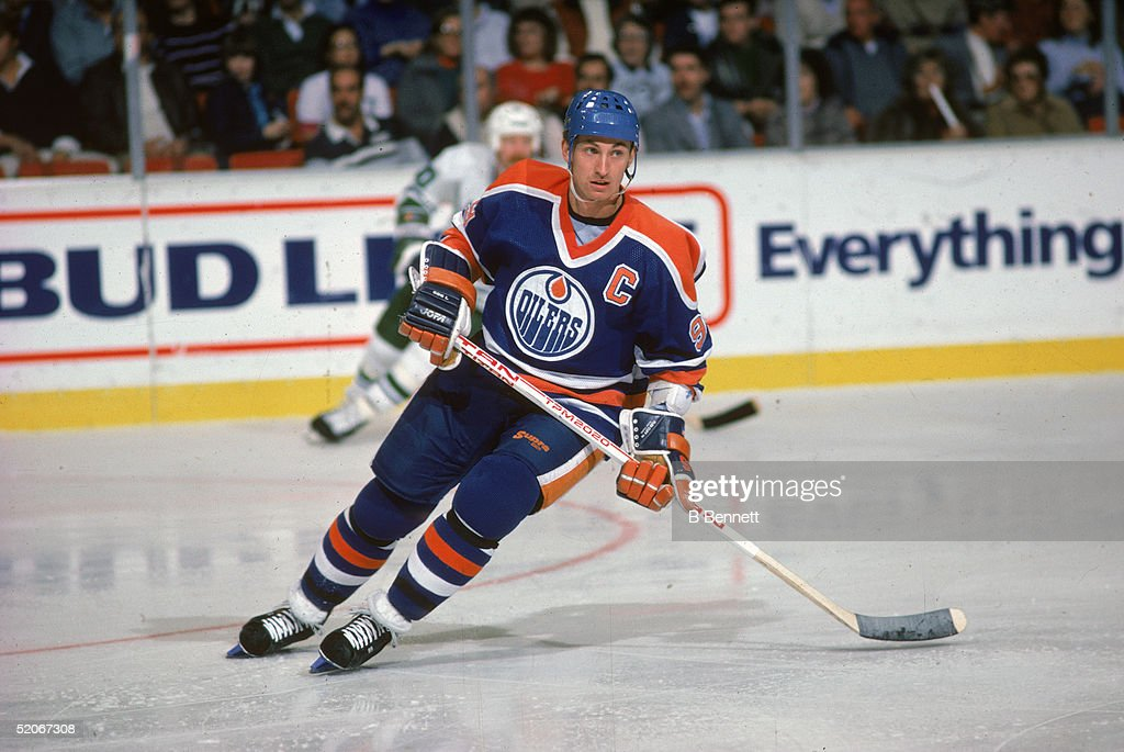Wayne Gretzky of the Edmonton Oilers skates on the ice during an NHL game against the Hartford Whalers on November 15 1986 at the Hartford Civic...