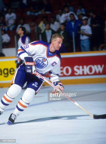 Wayne Gretzky of the Edmonton Oilers skates on the ice during warm ups before the game against the Boston Bruins during the 1988 Stanley Cup Finals...