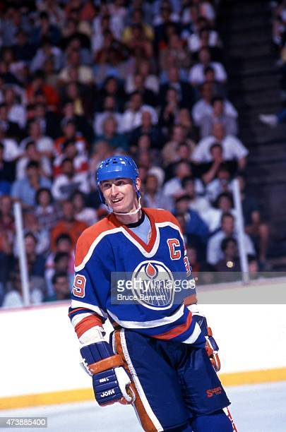 Wayne Gretzky of the Edmonton Oilers smiles on the ice during Game 6 of the 1987 Stanley Cup Finals on May 28 1987 at the Spectrum in Philadelphia...