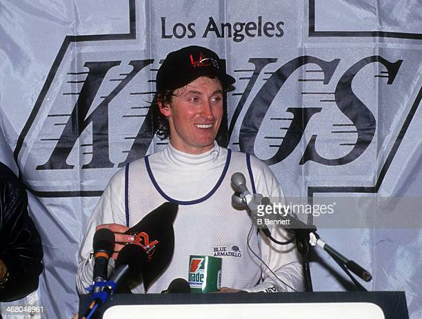 Wayne Gretzky of the Los Angeles Kings speaks during a press conference after he scored his 802nd career goal against the Vancouver Canucks on March...