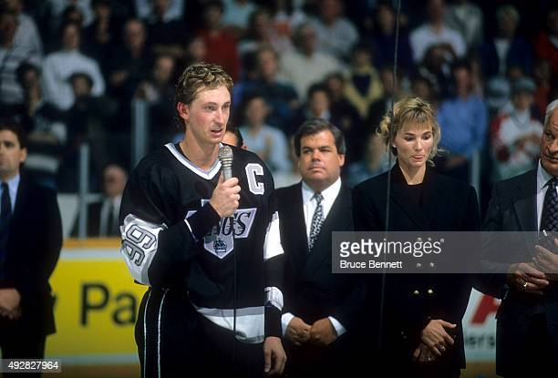 Wayne Gretzky of the Los Angeles Kings speaks to the crowd after he scored his 1851st career NHL point against the Edmonton Oilers on October 15 1989...