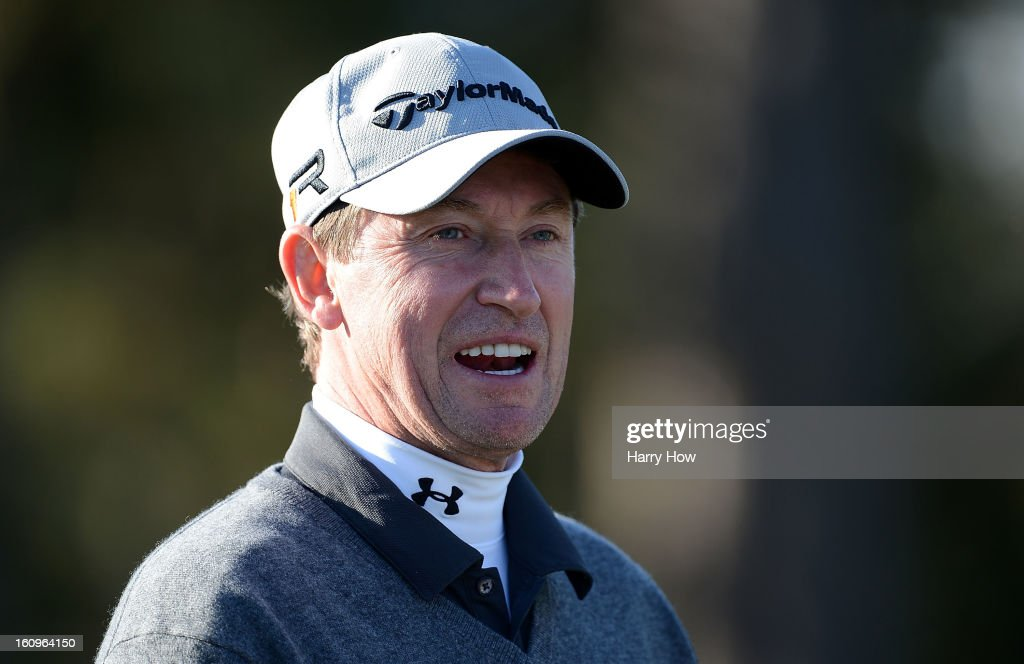 Wayne Gretzky waits on a tee during the first round of the AT&T Pebble Beach National Pro-Am at the Monterey Peninsula Country Club on February 7, 2013 in Pebble Beach, California.