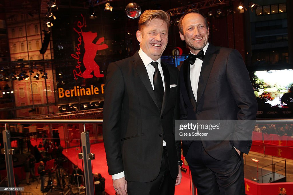 Wayne Griffiths and Wotan Wilke Moehring pose inside the AUDI Lounge at the Marlene Dietrich Platz during day 1 of the Berlinale International Film Festival on February 6, 2014 in Berlin, Germany.