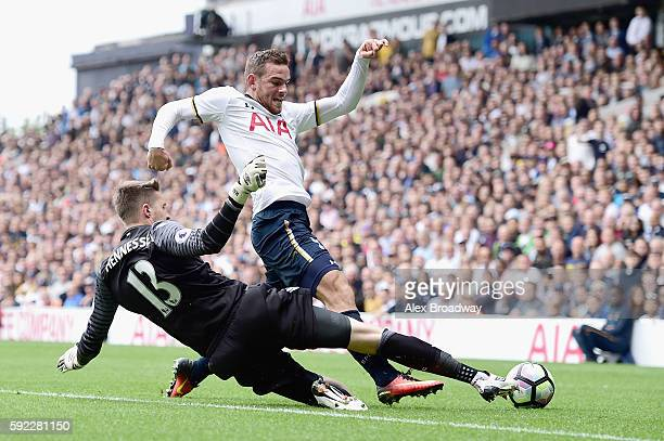 Wayne Hennessey of Crystal Palace challenges Vincent Janssen of Tottenham Hotspur during the Premier League match between Tottenham Hotspur and...