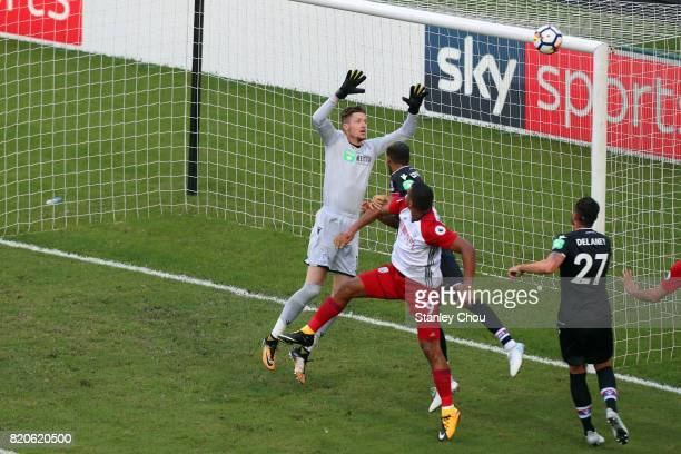 Wayne Hennessey of Crystal Palace saves during the Premier League Asia Trophy match between West Brom and Crystal Palace at Hong Kong Stadium on July...