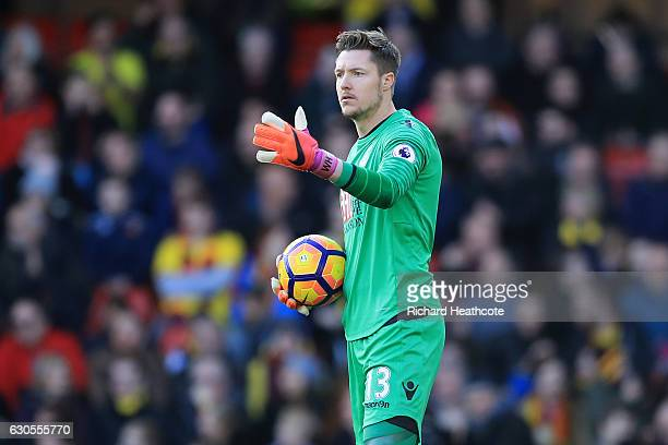 Wayne Hennessey of Palace in action during the Premier League match between Watford and Crystal Palace at Vicarage Road on December 26 2016 in...