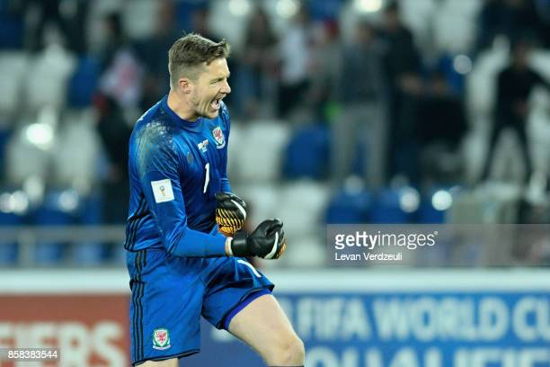 Wayne Hennessey of Wales celebrates during the FIFA 2018 World Cup Qualifier between Georgia and Wales at Boris Paichadze Dinamo Arena Tbilisi...