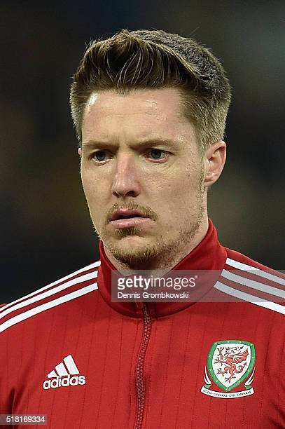 Wayne Hennessey of Wales looks on as the national anthems are played prior to kickoff during the International Friendly match between Ukraine and...