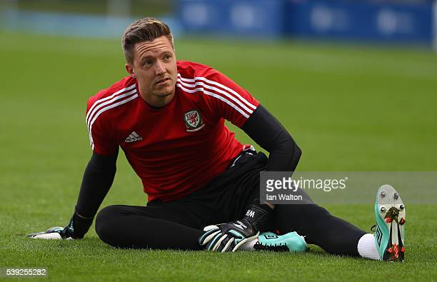 Wayne Hennessey of Wales warms up during a training session ahead of their UEFA Euro 2016 Goup B match at Nouveau Stade de Bordeaux on June 10 2016...