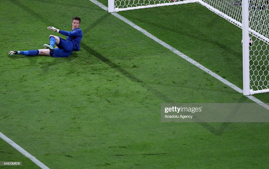 Wayne Hennessey of Wales watches the ball as ball goes to the goal during the UEFA Euro 2016 semi final match between Portugal and Wales at Stade de Lyon in Lyon, France on July 6, 2016.