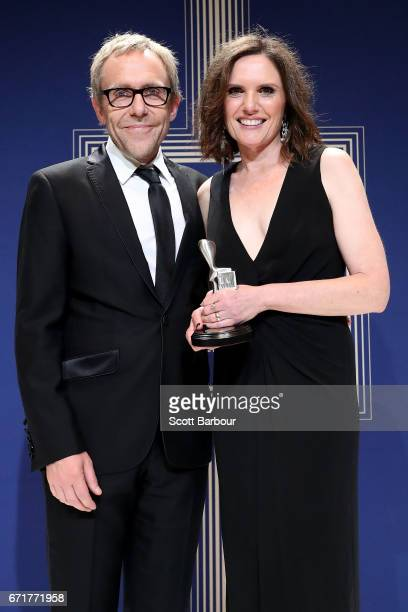 Wayne Hope and Robyn Butler pose with the Logie Award for Most Outstanding Children's Program 'Little Lunch The Nightmare Before Graduation' during...