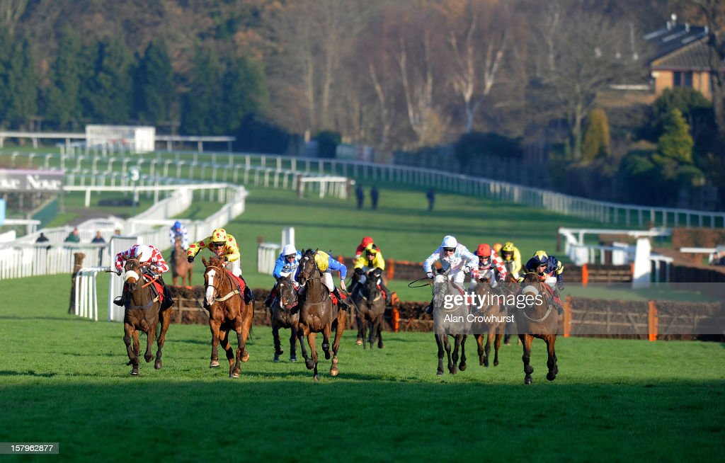 Wayne Hutchinson riding Araldur (2L, yellow) clear the last to win The Pertemps Network Handicap Hurdle at Sandown racecourse on December 08, 2012 in Esher, England.