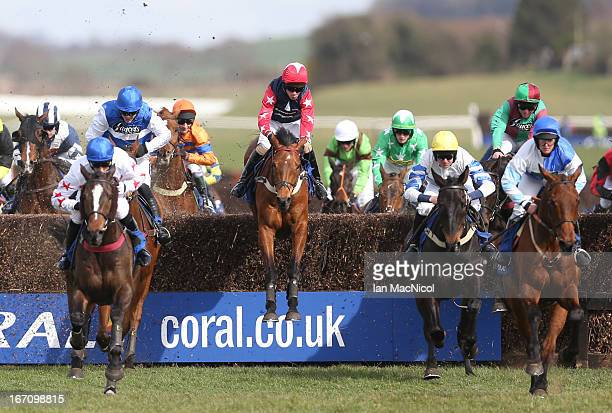 Wayne Hutchinson riding Godsmejudge wins The Coral Scottish Grand National Handicap Steeple Chase at Ayr racecourse on April 20 2013 in Ayr Scotland