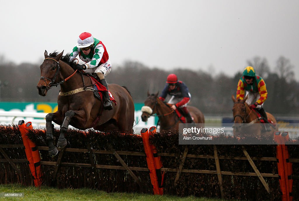 Wayne Hutchinson riding Pain Au Chocolat clear the last to win The Betfred 'Supports Jack Berry House' Huvenile Hurdle Race at Sandown racecourse on...