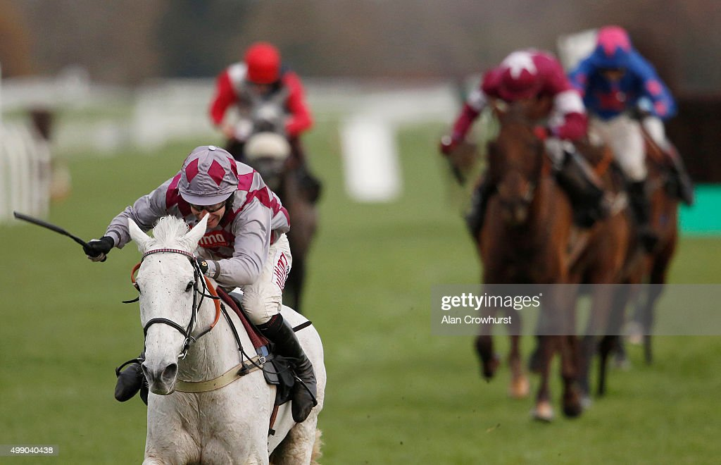 Wayne Hutchinson riding Smad Place clear the last to win The Hennessy Gold Cup Steeple Chase at Newbury racecourse on November 28, 2015 in Newbury, England.