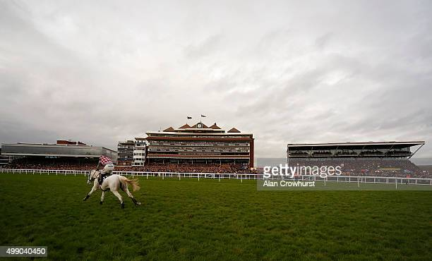 Wayne Hutchinson riding Smad Place clear the last to win The Hennessy Gold Cup Steeple Chase at Newbury racecourse on November 28 2015 in Newbury...