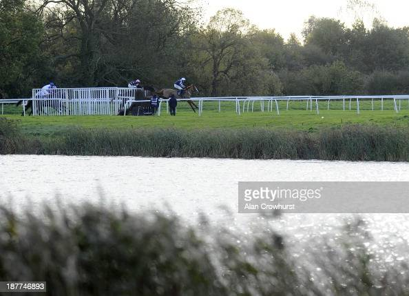 Wayne Hutchinson riding Suburban Bay take a fence down the back straight before going on to win The rewards4racingcom Novices' Handicap Steeple Chase...