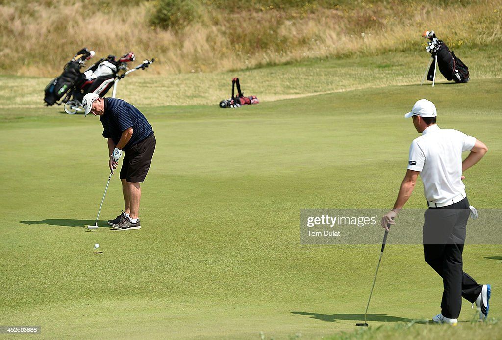 Wayne Jenkis of Machynys Peninsula Golf Club makes a putt during the Lombard Trophy West Regional Qualifier at Burnham and Berrow Golf Club on July 23, 2014 in Burnham-on-Sea, England.