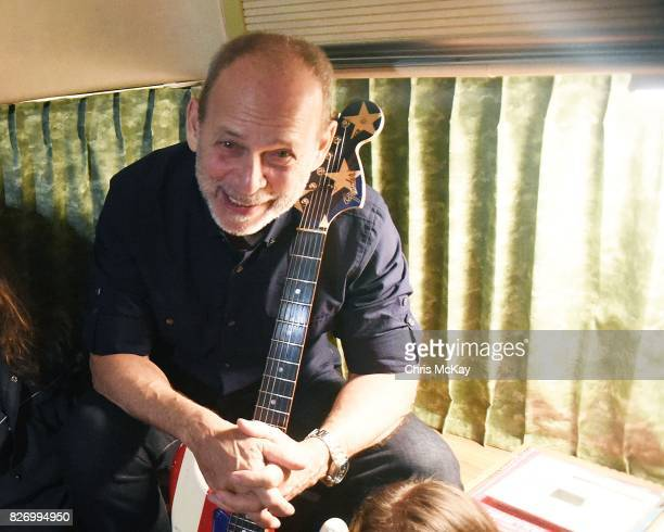 Wayne Kramer from MC5 backstage with his famous American Flag Fender Statocaster at The Office on August 5 2017 in Athens Georgia