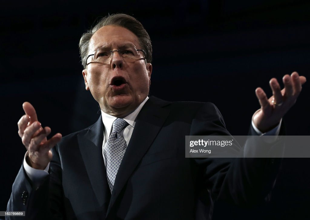 Wayne LaPierre, CEO of the National Rifle Association, delivers remarks during the second day of the 40th annual Conservative Political Action Conference (CPAC) March 15, 2013 in National Harbor, Maryland. The American conservative Union held its annual conference in the suburb of Washington, DC, to rally conservatives and generate ideas.