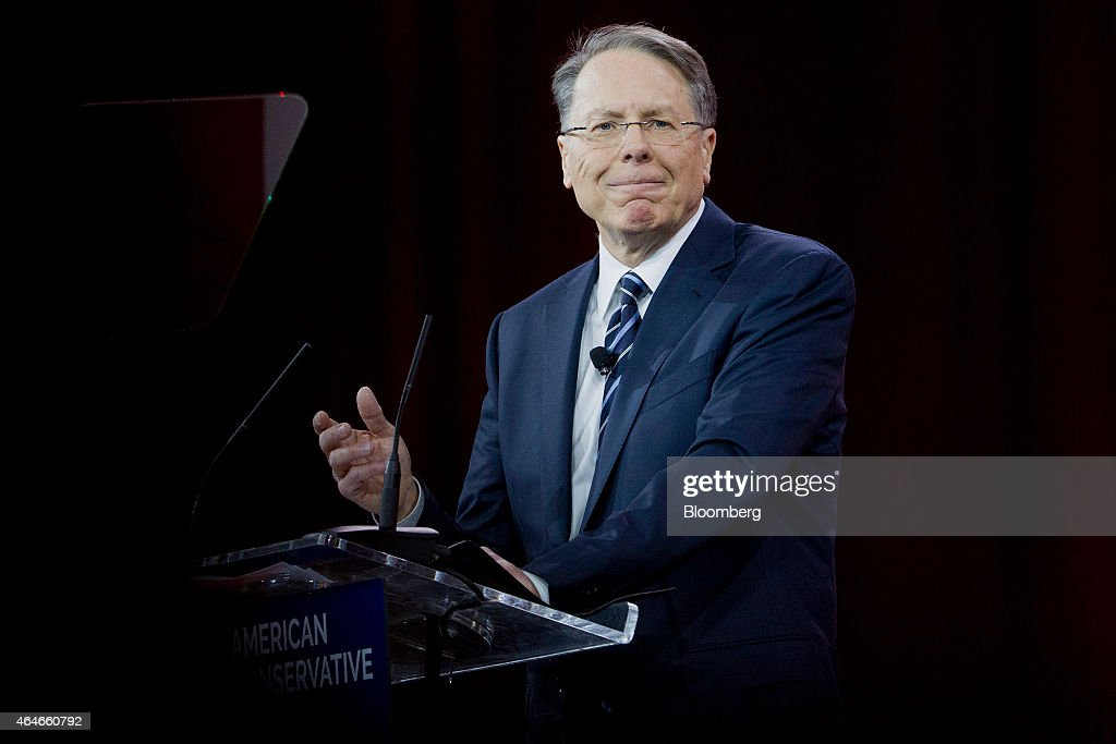 <a gi-track='captionPersonalityLinkClicked' href=/galleries/search?phrase=Wayne+LaPierre&family=editorial&specificpeople=2488494 ng-click='$event.stopPropagation()'>Wayne LaPierre</a>, chief executive of the National Rifle Association (NRA), speaks during the Conservative Political Action Conference (CPAC) in National Harbor, Maryland, U.S., on Friday, Feb. 27, 2015. The 42nd annual CPAC, which runs until Feb. 28, features most of the potential Republican candidates for president, from Ben Carson and Carly Fiorina to Jeb Bush and Scott Walker. Photographer: Andrew Harrer/Bloomberg via Getty Images