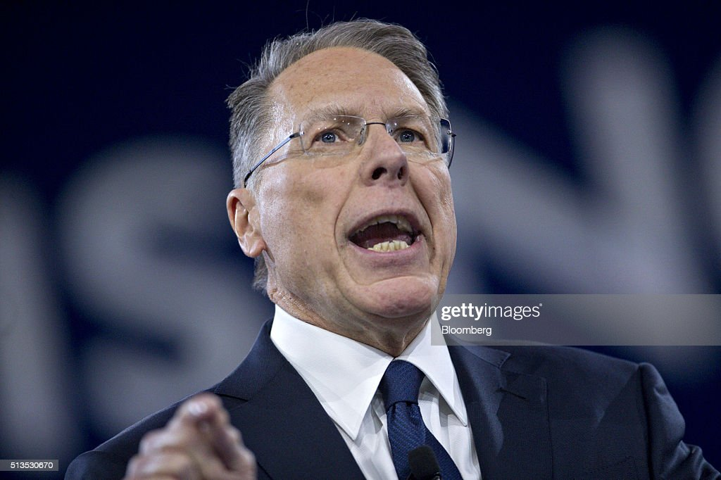 <a gi-track='captionPersonalityLinkClicked' href=/galleries/search?phrase=Wayne+LaPierre&family=editorial&specificpeople=2488494 ng-click='$event.stopPropagation()'>Wayne LaPierre</a>, chief executive of the National Rifle Association (NRA), speaks during the American Conservative Unions Conservative Political Action Conference (CPAC) meeting in National Harbor, Maryland, U.S., on Thursday, March 3, 2016. CPAC runs until March 5 with the five remaining 2016 Republican presidential candidates speaking. Photographer: Andrew Harrer/Bloomberg via Getty Images